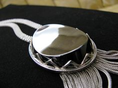 Vintage Whiting Davis Hematite Fringed Pendant Mesh Chain Necklace in Silver Tone. $60.00, via Etsy.