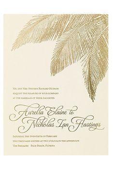 "Brides.com: . ""Traditional Palm"" letterpress wedding invitation with gold foil palm details, starting at $990 for 100 invitation suites, Bella Figura"