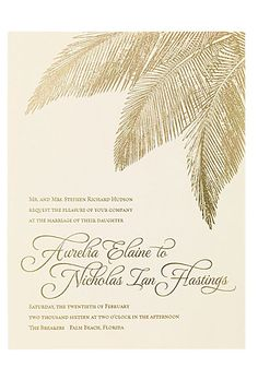 "Wedding Invitation with Gold Foil Palm Details. ""Traditional Palm"" letterpress…"