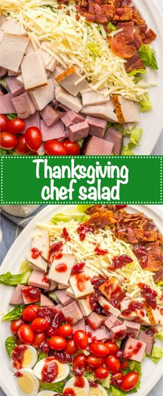 Thanksgiving leftovers chef salad is an easy, light no-cook lunch or dinner to make using leftover turkey, ham, deviled eggs and even cranberry sauce for the dressing! #ThanksgivingRecipes #salad #healthyfood | www.familyfoodonthetable.com