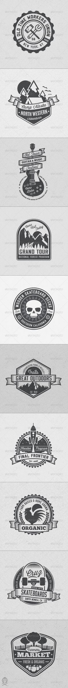 Vintage Style Badges and Logos Vol 4 - Badges & Stickers Web Elements. Logo Illustration Designs,