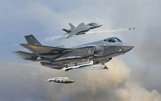 The Lockheed Martin Lightning II, result of the Joint Strike Fighter program . Military Jets, Military Aircraft, Air Fighter, Fighter Jets, Navy Aircraft Carrier, Focke Wulf, Aircraft Painting, Aviation Art, Futuristic Art