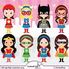 Superhero girls clipart Girl power clipart by PentoolPixie on Etsy
