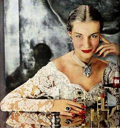Revlon Lipstick & Nail Enamel, March 1950. #vintage #beauty #makeup #1950s #jewelry