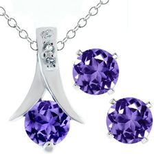 """2.25 Ct Round Purple Amethyst .925 Silver Pendant and Earrings Set 18"""" Chain $29.99"""