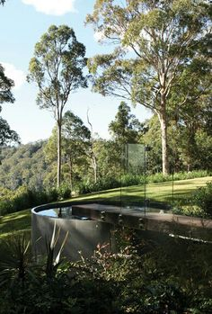 Beautiful concrete plunge pool overlooking the bush with large gum trees overhead Small Backyard Patio, Backyard Patio Designs, Above Ground Pool, In Ground Pools, Natural Swimming Pools, Natural Pools, Stock Tank Pool, Pool Water, Pool Spa