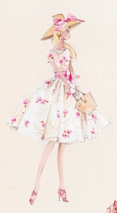 Silkstone Garden Party - Robert Best Barbie Fashion Illustration by Robert Best Fashion Art, Fashion Models, Vintage Fashion, Fashion Design, Party Fashion, Spring Fashion, Barbie Style, Barbie Mode, Modelos Fashion