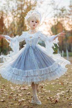 Little Forest -The Snowy Day- Lolita JSK, Match Blouse and Match Overskirt,Lolita Dresses, Harajuku Fashion, Kawaii Fashion, Lolita Fashion, Cute Fashion, Gothic Fashion, Fashion Fashion, Pretty Outfits, Pretty Dresses, Beautiful Dresses