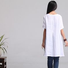 Loose Fitting Cotton blend Shirt Blouse for WomenC by deboy2000