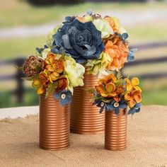 """Tin Can Floral Containers in Copper 3 per Set 2-4"""" Wide x 4-8"""" Tall"""