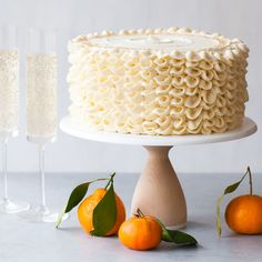 Champagne Mimosa Cake - tender, orange sponge cake smothered with silky champagne buttercream. A champagne dessert worth celebrating!