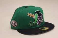 Jamestown Jammers NY-Penn Side Patch Green Navy Blue New Era 59Fifty Fitted Hat #NewEra #BaseballCap