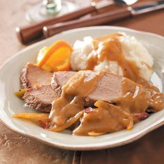 Pork Roast with Twist of Orange Recipe -The citrus flavor sets this dish apart. It's my family's favorite! With a nice and easy gravy, this dish is perfect served with rice or mashed potatoes. —Janie Canals, West Jordan, Utah