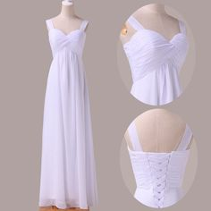 Spaghetti Straps White Chiffon Bridesmaid Dress