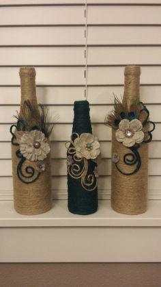 Set of 3 jute twine wine bottles in beige and by KarinasCreativity