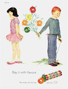 1956 AD Life Savers candy presenting the flowers advertising