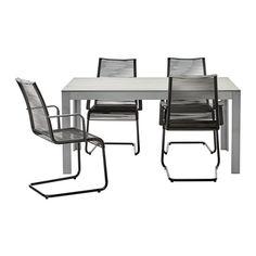 FALSTER / VÄSMAN Tisch+4 Armlehnstühle/außen - grau/schwarz - IKEA