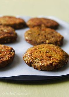 Eggplant Burgers Burger ingredients: (makes 4 patties) 2 teaspoons coconut or sunflower oil, plus more to brush on eggplant before roasting 1 red onion, diced 14 ounce cooked beans (your choice) 1/4 cup diced green bell pepper 1/2 an eggplant (should equal about 1 cup) 1/4 cup chopped fresh parsley 1 tablespoon pine nuts 1 clove of garlic, crushed 1 teaspoon pink himalayan salt 1 teaspoon ground cumin 1/2 cup classic hummus (or your favorite flavor hummus) 1 cup panko breadcrumbs