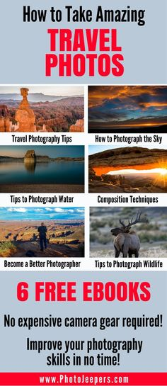 Are you looking to improve your photography skills, but you're not sure where to start? We will share 30 photography tips to help you take amazing travel photos. We'll cover everything from how to take beautiful pictures of the sky to how to compose the perfect image. Oh and did I mention it's all FREE? Come check out these free photography tips and photography ebooks and make sure you save it to your photography board so you can find it later.