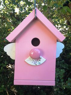 Spread Your Wings  Pink Birdhouse Upcycled Recycled by gardenfinds, $42.50