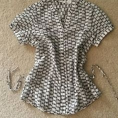 Sheer Zara top size small Cute Zara top with pretty side tie detail.  Light weight sheer material button up front. Great for spring. Excellent condition gently worn. Zara Tops
