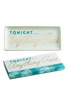 $32 Free shipping and returns on Rosanna Anything Goes Porcelain Trinket Tray at Nordstrom.com. Gilded accents add playful shine to a glossy porcelain trinket tray stamped with exuberant 'Tonight, anything goes!' lettering.