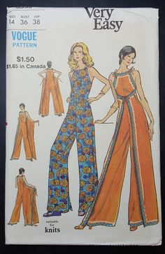 Sewing Inspiration ::: Vogue ca. Misses' Lounge Jumpsuit. Loose-fitting, front or back wrapped jumpsuit has self ties and optional rick-rack trim. Featured in Vogue Patterns Leaflet July 1972 Diy Clothing, Sewing Clothes, Clothing Patterns, Dress Sewing, Motif Vintage, Vintage Dress Patterns, Diy Fashion, Ideias Fashion, Vintage Fashion