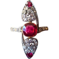 Vintage Art Deco Ruby Navette Ring with Diamond and Created Ruby in Gold and Platinum US 7 Supernatural Style Black Gold Jewelry, Ruby Jewelry, Jewelery, Fine Jewelry, Gold Jewellery, Jewellery Making, Quartz Jewelry, Jewelry Rings, Antique Rings
