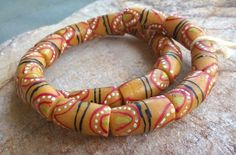11 Large Yellow Powder Glass Beads,African Recycled Glass Beads,African Glass Beads, Ghana Painted Krobo Beads, Ghana Beads, African Beads by RedEarthBeads on Etsy