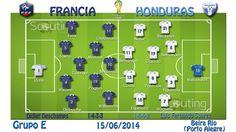 Grupo E: Francia vs Honduras  Onces titulares de Francia y Honduras y sus sistemas de juego.
