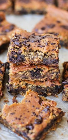 Peanut Butter Chocolate Chip Chickpea Bars - gluten-free, refined sugar-free, dairy-free, and packed with protein and fiber! | TheRoastedRoot.net