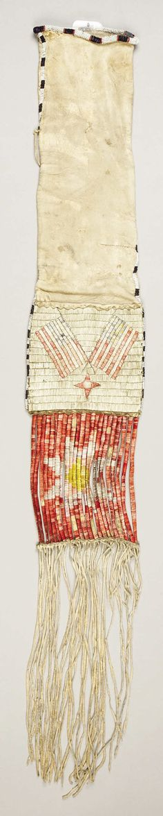 A SIOUX QUILLED AND BEADED HIDE TOBACCO BAG. c. 1880... American | Lot #77263 | Heritage Auctions
