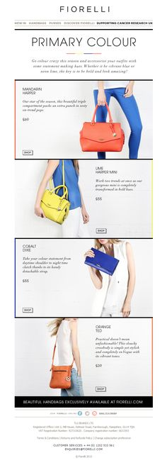 Email / Fiorelli/ Nice use of colour dividers and contrast.