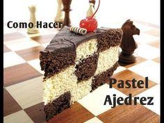 Checkered cake ( video in Spanish) Madeline Cake, Checkered Cake, Chess Cake, Checkerboard Cake, Cap Cake, Cake Recipes, Dessert Recipes, Cake Videos, Cake Tutorial