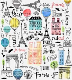 Paris Je T'aime illustration by Margaret Berg Paris Kunst, Paris Art, Art Parisien, Merci Paris, Foto Poster, Poster Art, Doodles, Travel Illustration, Oui Oui
