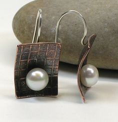 Etched Copper and Pearl Earrings