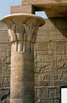 Papyrus Column, Temple of Isis at Philae Ancient Egypt Civilization, Ancient Egyptian Tombs, Pyramids Egypt, Egyptian Temple, Ancient Egypt History, Ancient Civilizations, Ancient Art, Ancient Greek, Ancient Egyptian Architecture