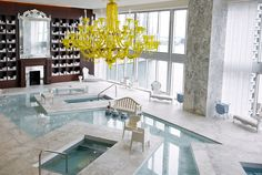 Phillipe Stark's spa design at the Viceroy Miami.  Love the neon yellow chandelier.