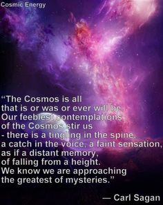 The cosmos is all that is or was or ever will be...