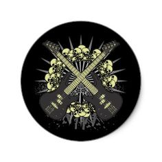 Skull Guitar Round Sticker from http://www.zazzle.com/bass+player+gifts