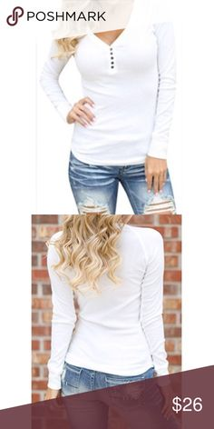 🆕 long sleeves rib Henley top Long sleeves ribbed Henley scooped hem top PLEASE Use the Poshmark new option you can purchase and it will give you the option to pick the size you want ( all sizes are available) BUNDLE and save 10% ( no trades price is firm unless bundled) Tops Tees - Long Sleeve
