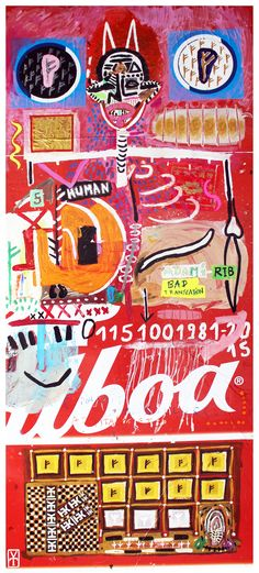 HUMAN - Acrylic / collage on vinyl - 2016