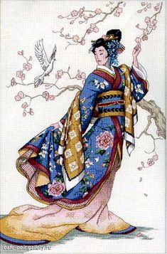 Gold Collection Elegance Of The Orient Counted Cross Stitch Kit Counted Cross Stitch Kits, Cross Stitch Charts, Cross Stitch Designs, Cross Stitch Embroidery, Japanese Quilt Patterns, Japanese Quilts, Cross Stitch Pattern Maker, Cross Stitch Patterns, Dimensions Cross Stitch