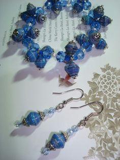 Paper bead bracelet & earrings