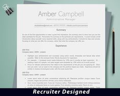 Resume template, Professional resume, Administrative CV, Modern resume, Curriculum vitae, CV template, CV template for word, Simple resume by DevelopingCareers on Etsy Cover Letter Design, Cover Letter Template, Letter Templates, Resume Cv, Resume Writing, Writing Tips, Action Words, Marketing Resume, Marketing Jobs