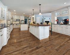 Marazzi USA Porcelain Wood Tile - kitchen tile - dallas - by Marazzi USA Wood Floor Kitchen, Kitchen Flooring, New Kitchen, Kitchen Decor, Kitchen Island, Kitchen Tile, Kitchen Cabinets, Awesome Kitchen, Hickory Kitchen