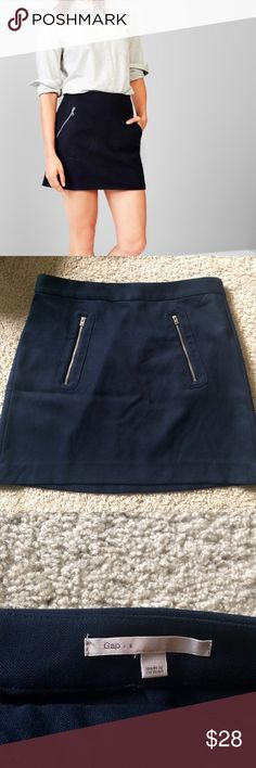 Gap Navy Skirt Gap skirt in navy. Great condition. Pockets with zippers on both sides. 66% Polyester 33% viscose 1% spandex. GAP Skirts Mini