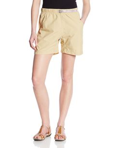 Gramicci Women's Rocket Dry G Shorts, Beach Khaki, X-Small. Rear pocket with velro closure. Freestyle Comfort Fit - Legendary classic climbing pant fit: high rise; roomy body. Flex fit elastic waistband. EZ cinch nylon belt with lock and release buckle. Diamond gusset for freedom of movement. Rear pocket with Velcro closure.