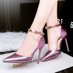 82c6707d4f1 Free shipping women s shallow mouth thin heel pointed metal sexy high heels  shoes