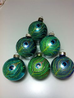 Peacock Ornaments with metallic paints and glitter